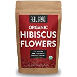 Organic Hibiscus Flowers - Cut & Sifted - 8oz Resealable Bag - 100% Raw From Egypt - by Feel Good Organics