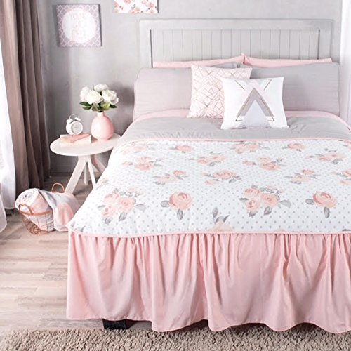 LIMITED EDITION PEONY TEENS GIRLS REVERSIBLE BEDSPREAD 2 PCS TWIN SIZE