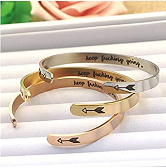 Lovastar Inspirational Cuff Bracelet Bangle Keep Lucking Going Stainless Steel Personalized Jewelry for Women Teen Girls