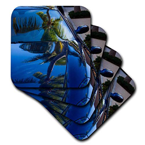 3dRose CST_208042_1 USA, Florida, Palm Beach, Worth Avenue, Palm Tree Reflected in Ferrari Soft Coasters (Set of ()