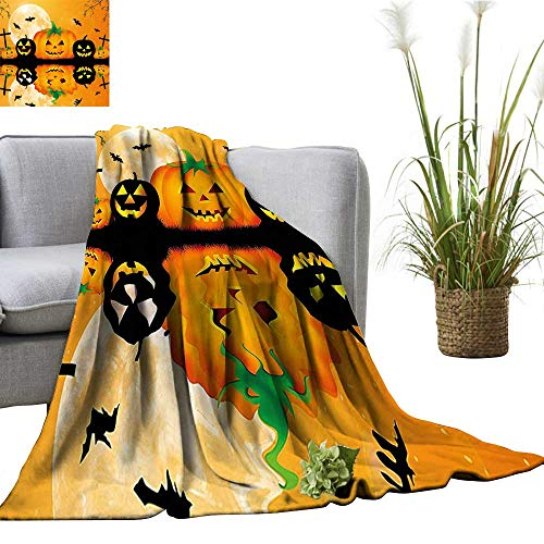 YOYI Digital Printing Blanket Carved Halloween Pumpk Full Mo Bats Grave by Lake Orange Black Better Deeper Sleep -