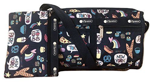 LeSportsac Food Talk Deluxe Shoulder Satchel Crossbody Bag + Cosmetic (Lesportsac Deluxe Shoulder Satchel)