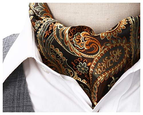 Ascot Mens - SetSense Men's Paisley Jacquard Woven Self Cravat Tie Ascot One Size Gold/Brown