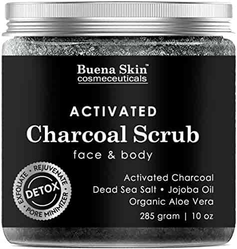 Activated Charcoal Scrub 10 oz.- Pore Minimizer & Reduces Wrinkles, Blackheads & Acne Scars, & Anti Cellulite Treatment - Great Body & Face Cleanser by Buena Skin