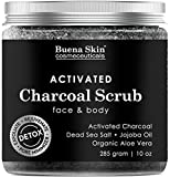Activated Charcoal Scrub by Buena Skin | Deep Cleanser, Pore Minimizer & Reduces Wrinkles, Blackheads, Acne Scars, & Anti Cellulite Treatment - Great for Face & Body 10 oz. review