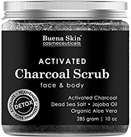 The BEST Activated Charcoal Scrub 10 oz.- Deep Cleanser, Pore Minimizer & Reduces Wrinkles, Blackheads & Acne Scars, & Anti Cellulite Treatment - For Face & Body by Buena Skin