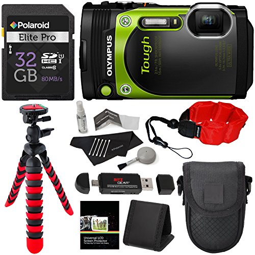 "Olympus TG-870 Tough Waterproof Digital Camera (Green), 32GB, Memory Card Reader, 12"" Tripod, Camera Case, Polaroid Floating Foam Strap, Cleaning Kit and Accessory Bundle (Certified Refurbished) Action Cameras"