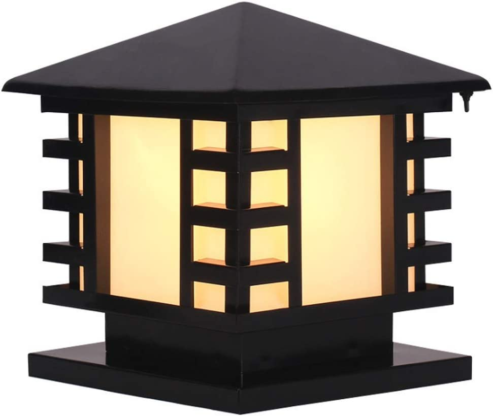 Chinese IP65 Waterproof Black Finish Outdoor Column Lamp Rustproof Japanese-Style Stainless Steel Garden Wall Patio Pillar Post Lamp Fixture Square Frosted Glass Lantern Exterior Pedestal Lamp