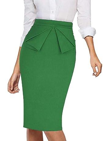 Mymyguoe Falda Delgada de Color sólido para Mujer Falda Vestido Profesional Señoras de Las Mujeres Trabajo