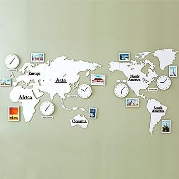 guazzbbia El Mapa Mundial De Salon Moderno Reloj De Pared Creativo Background Decoracion Pared Personalidad Watch American Office Marco De Foto Blanco ...
