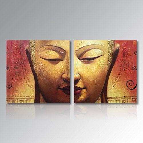 Winpeak Art Huge Framed Handmade Buddha Face Wall Art on Canvas Abstract Oil Painting for Home Decoration Modern Contemporary Decor Hangings Stretched Ready to Hang (64''W x 32''H (32''x32'' x2pcs)) by Winpeak Art