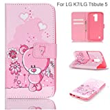 LG Tribute 5 Case, LG K7 Case, Anna Shop Kickstand Feature Premium PU Leather Wallet Case Flip Cover with Built-in Card/Cash Slots & Stand For LG Tribute 5 / LG K7
