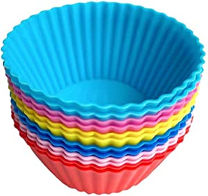 Reusable Silicone Cupcake Baking Cups,Weagood Non-stick Muffin Cupcake Liners Silicone Baking Molds Pack of 12