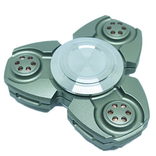 UFO 3 Minutes Tri-Spinner Fidget Spin Toy Smooth Surface Metal Aluminum Stainless Hand Spinner Steel With Premium Hybrid Ceramic Bearing Ultra Durable Gorgeous – Army Green