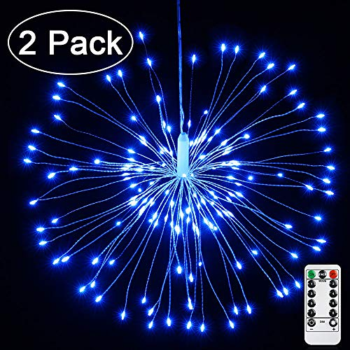 Joomer 2 Pack LED Starburst Lights, 8 Modes 120 LED Dimmable Fairy Lights, Twinkle Fireworks String Lights, Waterproof Battery Operated with Remote Control for Home, Patio, Parties, Wedding (Blue)