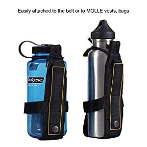OneTigris Minimalist Water Bottle Holder for 32oz Carrier 27oz Klean Kanteen 20oz Hydroflask (Black)