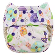 Blueberry One Size Simplex All In One Cloth Diapers, Made in USA (Purple Snails)