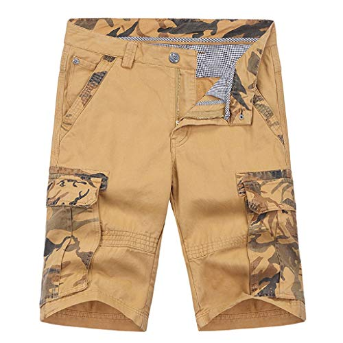 - ZEFOTIM Shorts for Men 2019 Fashion Casual Cotton Multi-Pocket Outdoors Work Trouser Cargo Short Pants(Khaki,34)