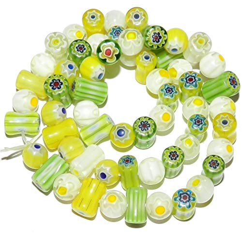 (Round & Tube Millefiori Glass Beads Green Yellow White Single Flower 8mm AG01)