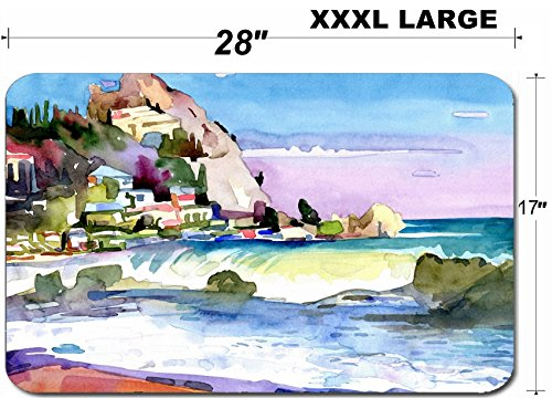 (Liili Large Table Mat Non-Slip Natural Rubber Desk Pads IMAGE ID: 19341445 original watercolor painting on paper of a rocky bank is in the district of Gurzuf Crime)
