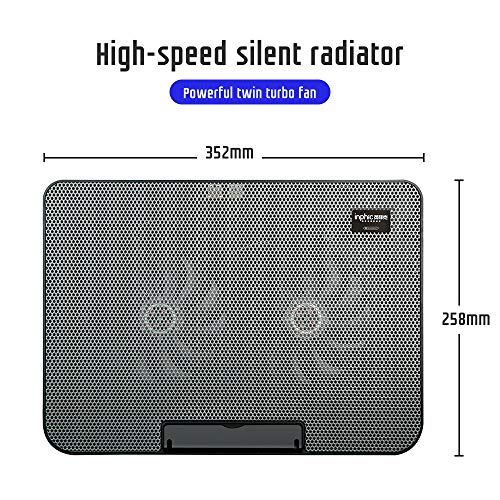 Laptop Cooling Pad, inphic Super Quiet Dual Fan Laptop Cooler Fitting From 14 to 17 Inches, 4 Adjustable Levels Laptop Cooling Stand, Metal Mesh Surface, Portable Cooling Pad for Laptop