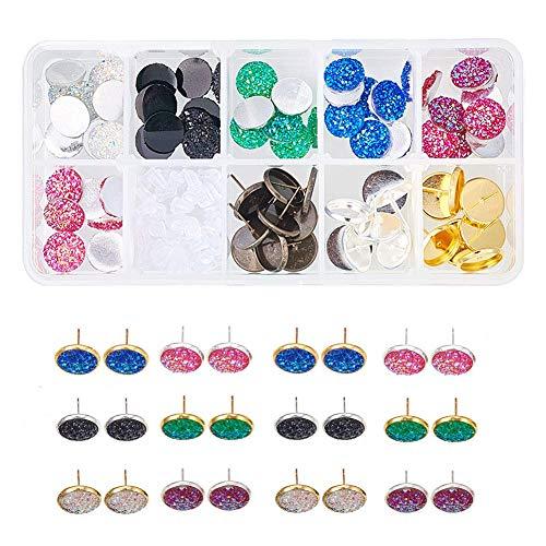 - 1 Box DIY 15 Pairs Druzy Stud Earrings Making Starter Kit Include 6 Color 36pcs Round Druzy Agate Resin Cabochons 12mm, 3 Color 30pcs Blank Stud Bezel Earrings Settings & 5g Earnuts