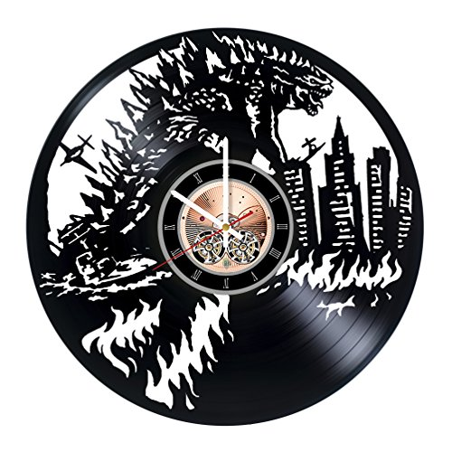 Godzilla Vinyl Record Wall Clock - Home Room or Bedroom wall decor - Gift ideas for boys and girls, friends – New Movie Unique Art Design