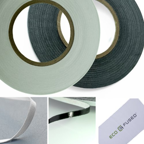 Eco-Fused Adhesive Sticker Tape for Use in Cell Phone Repair - 2 Rolls of 2mm Tape - also including 1 Pair of Tweezers / Eco-Fused Microfiber Cleaning Cloth (Repair Phones Cell)
