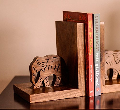 ExclusiveLane Wooden Hand Carved & Engraved Elephant Book End In Sheesham Wood -Book Ends Stand Holder Book Case Table Décor Desk Bookshelf by ExclusiveLane