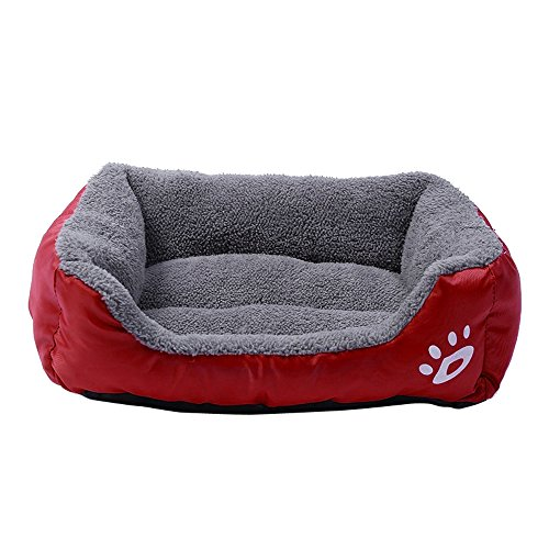 Pet Dog Bed | Square Pet Nest, Soft Warm Kennel Dog Mat Blanket,Pet Dog Cat Bed Puppy Cushion House, Orthopedic Ultra Plush Sofa-Style Couch Pet Bed for Dogs & Cats (Wine Red, S) by Pet1997 (Image #2)