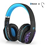YOCUBY Bluetooth Headphone, Beexcellent Wired and Wireless Headphone With 3.5mm Cable Over Ear Foldable Extensible Noise Cancelling Hands Free Mic LED for PC Laptop Tablet Cellphone PS4 XBox(Black-Blu