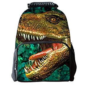 Belastry Cool 3D Zoo Animals Dinosaur Pattern Teenager School Book Bag for Girls Boys