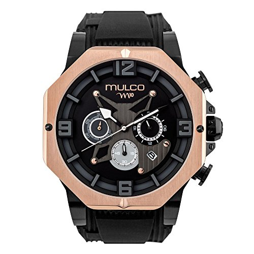 Mulco M10 105 Gent Quartz Chronograph Movement Men's Watch | Premium Analog Display with Rose Gold Accents | Black Watch Band | Water Resistant Stainless Steel Watch | MW5-5190-025
