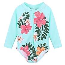 HUANQIUE Baby/Toddler Girl Swimsuit Rashguard Swimwear Long Sleeve One-Piece