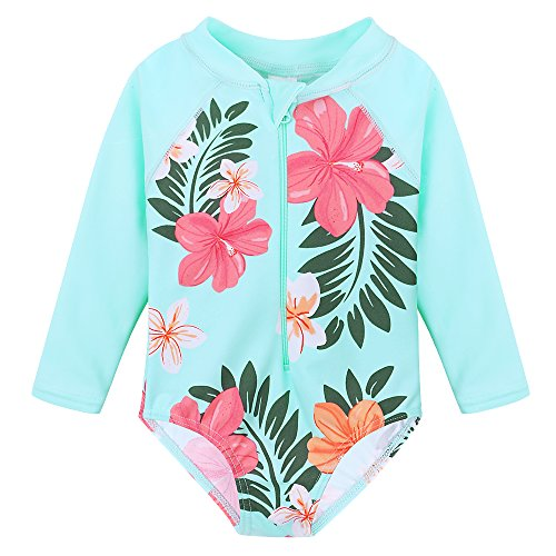 Baby Infant Swimsuit Bathing Suit - HUANQIUE Baby/Toddler Girl Swimsuit Rashguard Swimwear Long Sleeve One-Piece Aqua 6-12 Months