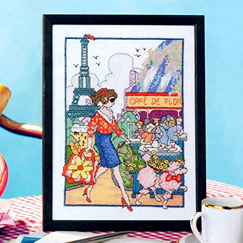 Zamtac Paris Return The Character Street Shopping Lady Count Stamped Cross Stitch Kits 14ct Printed Cross-Stitching Set Embroidery 9464 - (Cross Stitch Fabric CT Number: 11ct Printed Canvs)