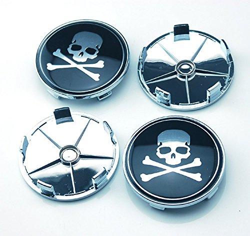 4pcs W078 68mm Emblem Badge Wheel Hub Caps Centre Cover Skull Black (Skull Center)
