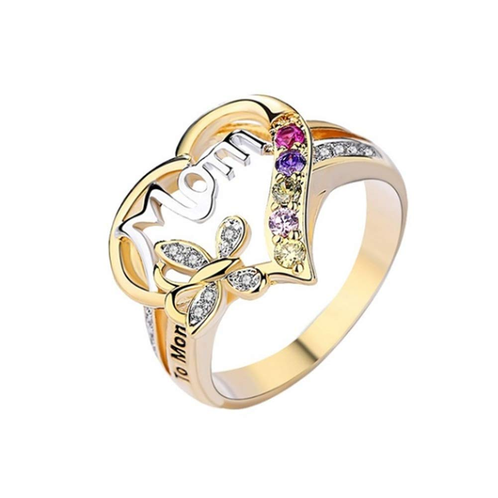 Alamana Rhinestone Butterfly Hollow Heart English Letter Love Mom Finger Ring Jewelry Golden US 10