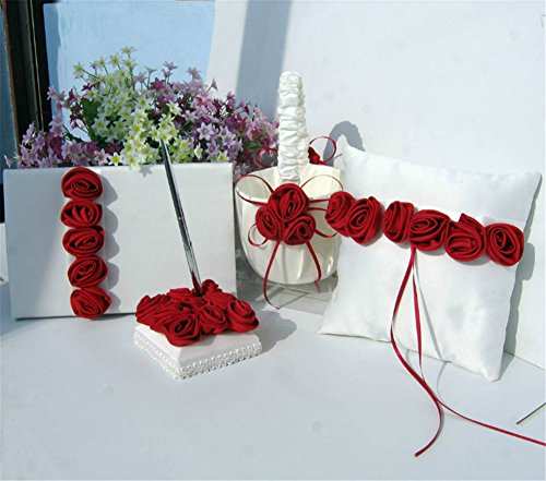 (Lingstar Romantic Satin Rosette Guest Book Set with Pen Wedding Ring Bearer Pillow and Flower Girl Basket, Red )