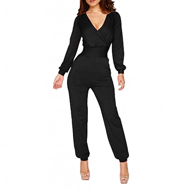 e79fe8703247 AWEIDS Fashion Lady s Long Sleeve V Neck Romper Jumpsuit Multi-color Pick  Black X-