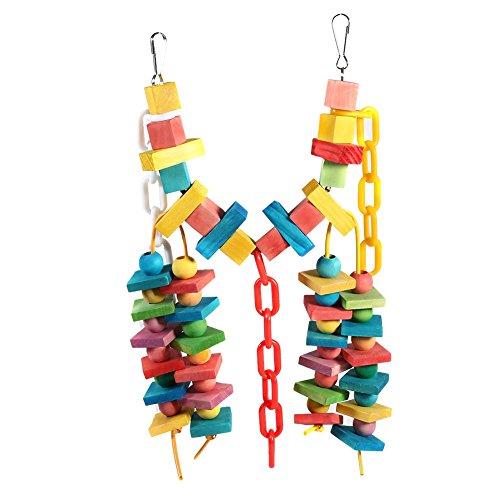Yosoo Wooden Parrot Chew Toy Pet Birds Cage Bite Toy Birds Hanging Swing Scratcher Perch