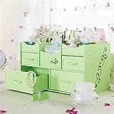 ZQ PVC cosmetics storage box wood plastic items desktop sorting box jewelry rack stationery drawer storage box office carved storage box multi-grid,green