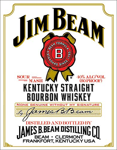 Desperate Enterprises Jim Beam White Label Kentucky Straight Bourbon Whiskey Tin Sign, 12.5