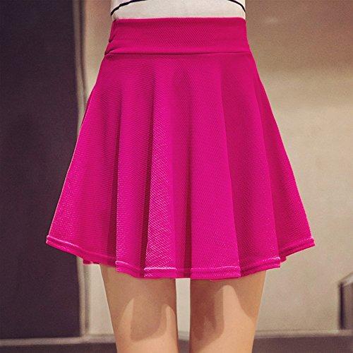 Rose Legging unie plisse Jupe couleur avec mini lgant Oderola vase jupe Femme Patineur lastique q6nCwfO