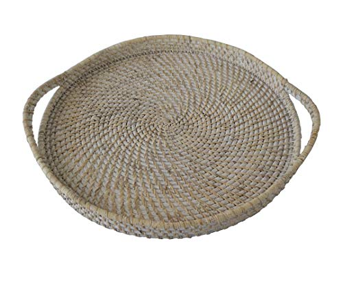 Wicker Serving Trays and Platters with Handles | Handcrafted Breakfast, Food, Dish, Coffee, Bread Serving Baskets for Home and Restaurants (18