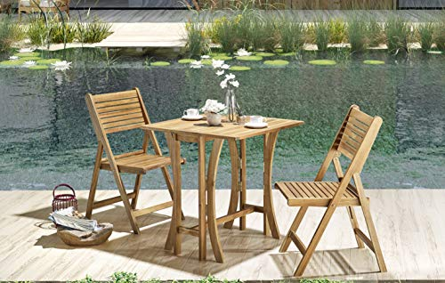 (Sunset Garden SG120 | Alley Folding Outdoor Bistro Set | 3-Piece Real Wood, Natural)
