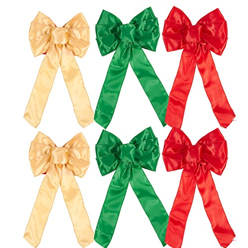 (Juvale Satin Wreath Bows - 6-Pack 7 Loop Christmas Ribbon Bows for Home Decor, Xmas Decoration, Gift Wrap - Red, Green, Gold, 8.5 x 1 x 14.2 inches)