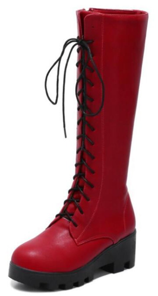 IDIFU Women's Casual Mid Chunky Heels Platform Lace up Full Zip Mid Calf Boots (Red, 7 B(M) US)