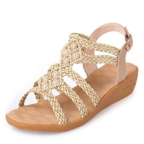 Sandalias Planas Ocasionales Bohemia De para Verano Zapatos Mujer Sandalias Antideslizantes De De Cuña Beige Sandalias Romanos v0d6A0qx