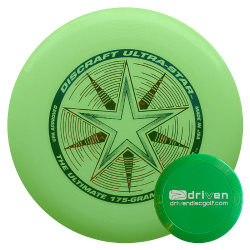 Discraft Ultra Star 175 Gram Ultimate Sport Disc + Mini Flyer (Glow in the Dark) by Driven Ultimate Discs